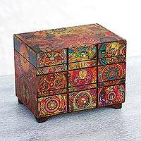 Decoupage jewelry box, 'Huichol Portal' - Decoupage Jewely Box with Drawer