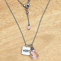 Rose quartz pendant necklace, 'Inspiring Hope' - Inspirational Sterling Silver Pendant Necklace