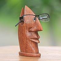Wood eyeglasses stand, 'Friendly Face' - Eyeglass Stand Hand Carved Brown Wood