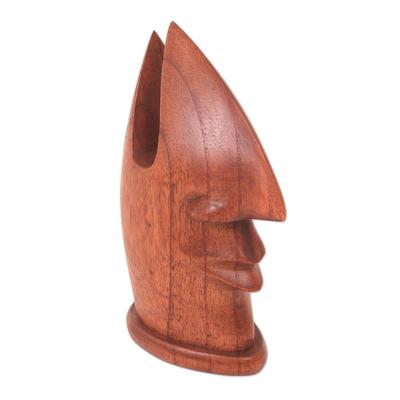 Wood eyeglasses stand, 'Friendly Face' - Wood Eyeglass Holder