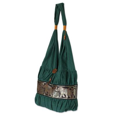 Cotton shoulder bag, 'Emerald Thai' - Elephant Embroidery Shoulder Bag