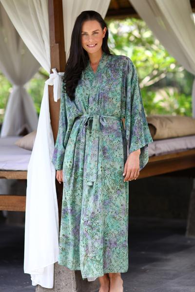 Batik robe, 'Misty Javanese Forest' - Artisan Crafted Batik Robe