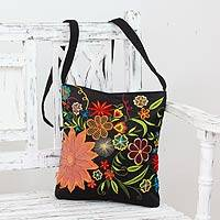Embroidered cotton blend shoulder bag, 'Tropical Paradise'
