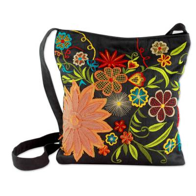 Embroidered cotton blend shoulder bag, 'Tropical Paradise' - Floral Embroidery on Black Cotton Blend Shoulder Bag