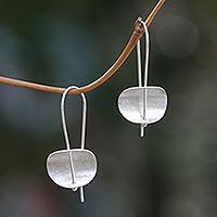 Sterling silver drop earrings, 'Urban Minimalism' - Modern Sterling Silver Earrings Artisan Crafted Jewelry