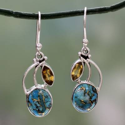 Citrine dangle earrings, 'Modern Mystique' - Composite Turquoise and Citrine Silver Dangle Earrings