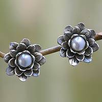 Pearl flower earrings, 'White-Eyed Lotus'