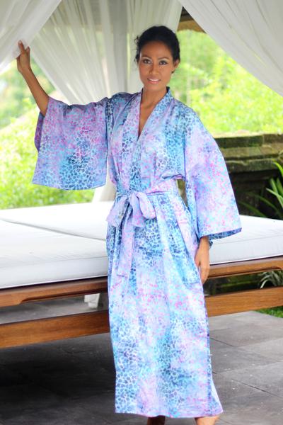 Cotton batik robe, 'Rushing River' - Women's Batik Cotton Robe