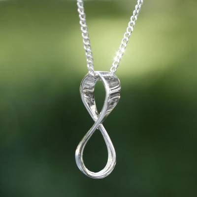 Sterling silver pendant necklace, 'Maya Infinity' - Hand Crafted Taxco Silver Pendant Necklace