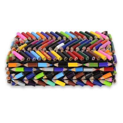 Upcycled coloring pencils box, 'Zigzag Rainbows' - Colored Pencils Upcycled as Handmade Decorative Box