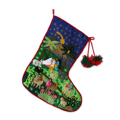 Applique Christmas stocking, 'Visit of the Magi' - Christmas Stocking