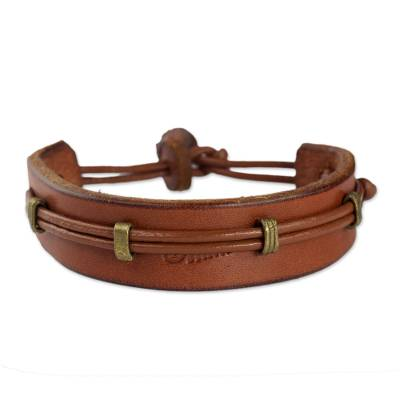 Men's leather wristband bracelet, 'Stand Alone in Tan' - Mens Leather Bracelet