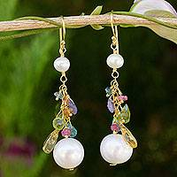 Gold plated cultured pearl and multigem dangle earrings, 'Rainbow Waterfall'