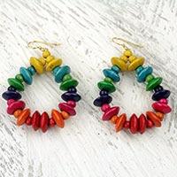 Wood dangle earrings, 'Joyous Celebration'