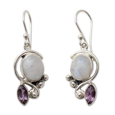 Rainbow moonstone and amethyst dangle earrings, 'Yours Forever' - Rainbow Moonstone and Amethyst Dangle Earrings