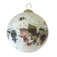 Glass christmas ornament, 'Christmas Carolers' - Unicef Ornament