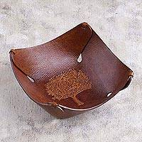Leather catchall tray, 'Tree of Life' - Leather Catchall