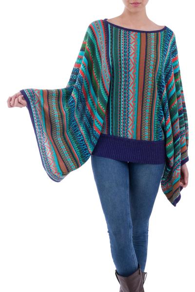Striped kimono sleeve sweater, 'Lima Dance' - Bohemian Knit Jumper from Peru in Multicolour Stripes