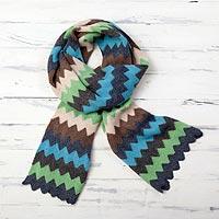 Alpaca blend scarf, 'Heathered Zigzag' - Zigzag Striped Alpaca Blend Scarf