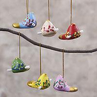 Ceramic ornaments, 'Christmas Messengers' (set of 6) - Ceramic Bird Ornaments