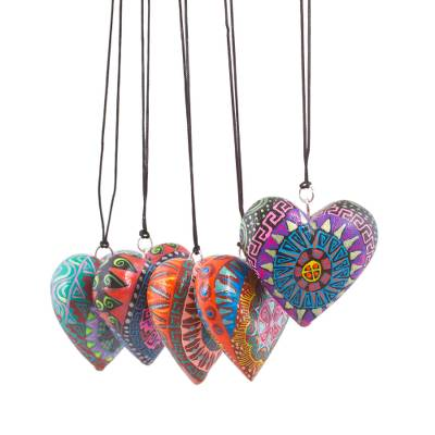 Wood ornaments, 'Alebrije Hearts' (set of 5) - Painted Wood Heart Ornaments