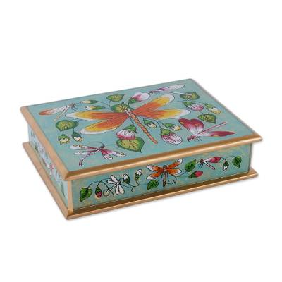 Reverse painted glass decorative box, 'Dragonfly World in Turquoise' - Dragonfly Reverse Painted Glass Decorative Box
