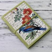 Handmade paper journal, 'Kingfisher Memoirs'
