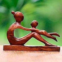 Wood sculpture, 'Playful Mother' - Hand-Carved Suar Wood Mother and Child Sculpture