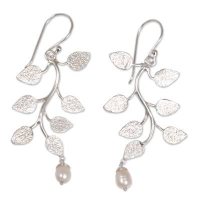 Cultured pearl dangle earrings, 'White Forest' - Indonesian Sterling Silver Pearl Dangle Earrings