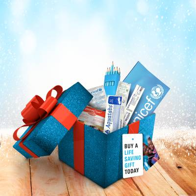 Childrens Christmas gift parcel  - Childrens Christmas gift parcel of essential supplies.