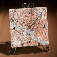Personalized marble tile map clock, 'My Town' - Personalized Marble Tile Clock with Map of Your Town