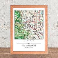 Framed map, 'Your Home Center' - Framed 'Your Home' Map
