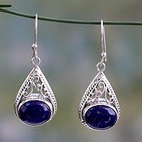 Lapis lazuli dangle earrings,