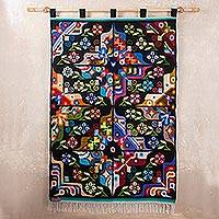 Wool tapestry, 'Butterflies at Night' - Wool tapestry