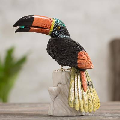 Onyx and jasper sculpture, 'Toucan Dines' - Multicolor Bird Onyx Jasper Gemstone Sculpture