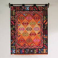 Wool tapestry, 'Families' - Wool tapestry
