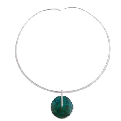 Chrysocolla Choker Silver 950 Necklace from Peru