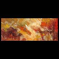 'Warm Abstraction II' - Golden Summer Original Oil Painting Abstract Art