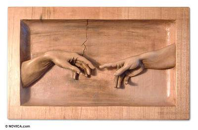 Cedar relief panel, 'The Creation' - Cedar relief panel