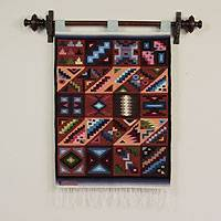 Wool tapestry, 'Calendar in Sun and Shade' - Collectible Geometric Wool Tapestry Wall Hanging