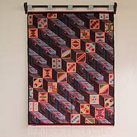 Wool tapestry, 'Optical Illusion' - Wool tapestry