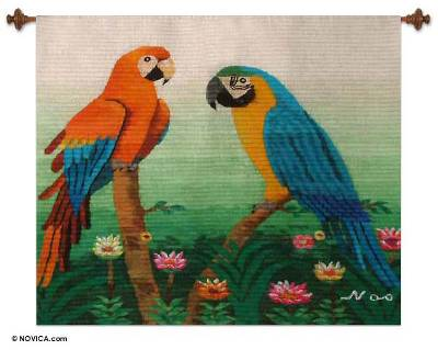 Hand Loomed Wool Wall Hanging Art Tapestry