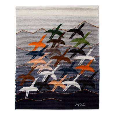 Wool tapestry, 'Flying High' - Hand Loomed Wool Bird Tapestry Wall Hanging
