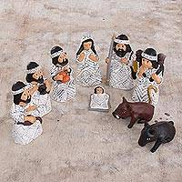 Ceramic nativity scene, 'Amazon Christmas' (set of 9) - Christmas Amazonian Nativity Scene Sculptures (Set of 9)