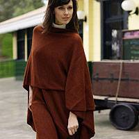 Alpaca blend wrap, 'Autumn Russet' - Collectible Alpaca Wool Blend Solid Wrap Ruana