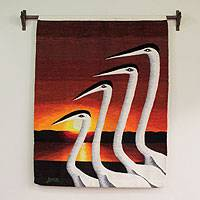 Wool Tapestry, 'Swans at Sunset' - Wool Tapestry