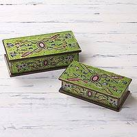 Painted glass boxes, 'Ruby' (pair) - Handcrafted Reverse Painted Glass Jewelry Boxes (Pair)