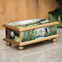 Glass box, 'Panda Family' - Reverse Painted Glass Wood Jewelry Box