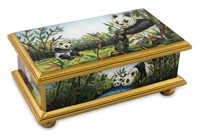 Reverse Painted Glass Wood Jewelry Box