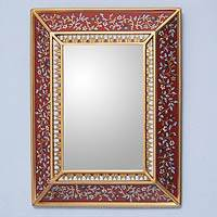 Cedar mirror, 'Bluebells on Scarlet' - Fair Trade Reverse Painted Glass Mirror